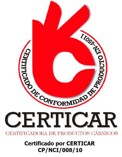 Logo certificado calidad Certicar para productos Ibéricos